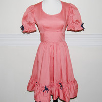Vintage 1960s Square Dance Dress / Salmon Coral by LadyLuxVintage