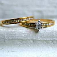 Classic Vintage 18K Yellow Gold Diamond Wedding Set - 0.53ct.
