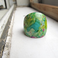 One of a Kind Handpainted cocktail Ring From the by AugiebyCarrieJewelry on Etsy