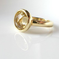 Lemon Quartz 18K Gold Vermeil Oval Bezel Ring | moonfairy - Jewelry on ArtFire