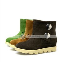Muuya Solid Button Round Toe Flat Casual Women Boots - AR DinoDirect.com