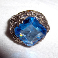 RING - Sterling Silver - ANTIQUE - FILIGREE - Faceted - Azure Blue Stone -  Ornate - Size 5