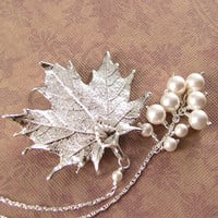 Maple Leaf Necklace Silver Leaf Necklace Sterling by DorotaJewelry