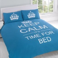 FULL TEAL TEENAGER KEEP CALM ITS TIME FOR BED COTTON REVERSIBLE COMFORTER COVER: Home & Kitchen