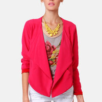 Lucy Love Soft Fuchsia Pink Cropped Jacket