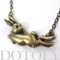 ONE DOLLAR SALE - CUTE Floating Bunny Rabbit Animal Necklace in Bronze