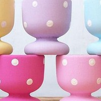 handpainted dotty eggcups by mollycupcakes