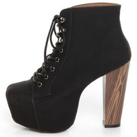 Promise Magi Black Denim Lace-Up Platform Ankle Boots - &amp;#36;53.00