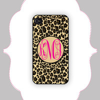 iPhone  Case- Leopard Monogram- iPhone 4/4s Case, iPhone 5 Case, Personalized iPhone Case