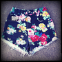 Vintage High Waisted Floral Studded Cut Off Shorts 25&quot; Waist