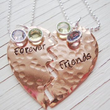 Forever friends hand stamped copper heart share necklace set of two with birthstone crystals