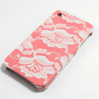 White Lace over Pink iPhone 4 Case by VanityCases on Etsy