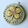 custom dog id tag Brass four leaf clover by DoggoneTags on Etsy