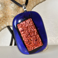Blue Dichroic Fused Glass Necklace by eyeseesage on Etsy