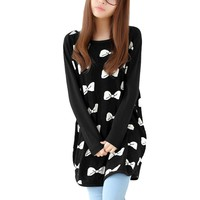 Allegra K Woman Scoop Neck Batwing Sleeves Knot Bust Prints Pregnancy Black Sweater