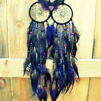 Owl Dream Catcher - Blue and Purple Extra Large Feather Dream Catcher - Night Owl (Ready to Ship)