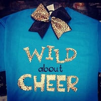 Wild About Cheer Tee w/ Matching Tik Tok Cheetah & Glitter Bow