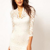 Starry EMBROIDERY LACE DRESS WHITE