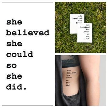 Believe in yourself - temporary tattoo (Set of 2)