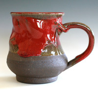 Twisted Red Coffee Mug, handmade ceramic cup, tea cup, coffee cup