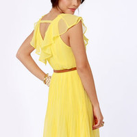 Meringue-nam Style Belted Yellow Dress
