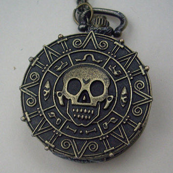 Doubloon coin skull golden dial POCKET WATCH locket by qizhouhuang