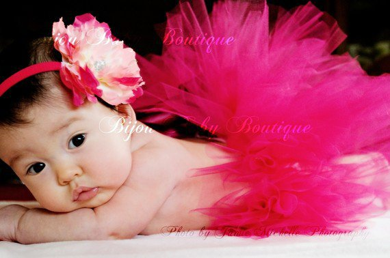 Baby Tutu And Flower Headband Set, Size NB-24Months