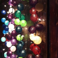 20 x mix design color cotton ball Bali string light by cottonlight