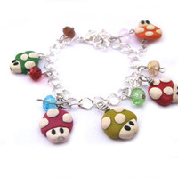 Mario mushroom bracelet polymer clay charm by Mandyscharms on Etsy