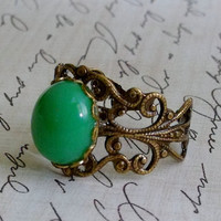 Vintage Swarovski Glass Ring, Adjustable Brass Ring, Green Stone Ring