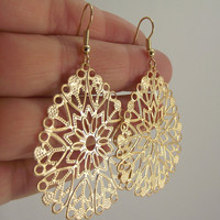 Teardrop Gold Filigree Earrings, Gold Earrings