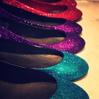 Made To Order Glitter Shoes  Flats  Any color by ashleybrooks1984
