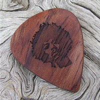 African Bubinga Wood Guitar Pick - Jimi Hendrix Tribute - Handmade Laser Engraved  2 Sided Design - Premium Wood Pick