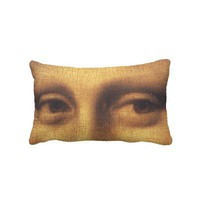 Mona Lisa's eyes throw pillow from Zazzle.com