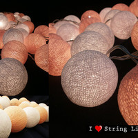 Peach and White Cotton Ball String Lights For Wedding and House decoration (20 Balls /Set)