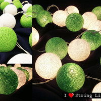Bright Green and White Cotton Ball String Lights For Wedding and House decoration (20 Balls /Set)