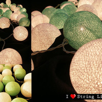 Soft Green and Cream Cotton Ball String Lights For Wedding and House decoration (20 Balls /Set)