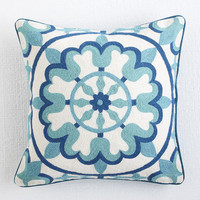 Floral Crewelwork Pillow Cover - Blue