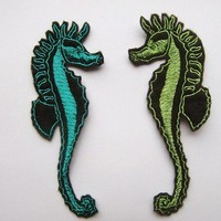 Iron On Patches Set of 2 Seahorse Appliques