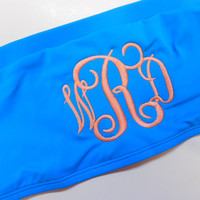 Monogram Bandeau Swim Suit Top Font Shown by MONOGRAMSINC on Etsy