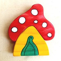 Wooden Toadstool House Puzzle - by rawtoys on madeit