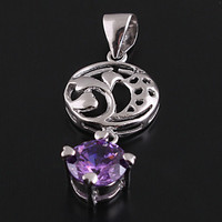 925 Sterling Silver Hollowed-out Circle Necklace Pendant at Online Jewelry Store Gofavor
