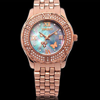 Gold rose pearl stainless steel waterproof female Watch