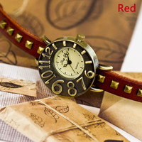 Unique Leather Rivet Retro Watch