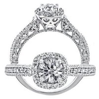 1 Carat VS-2 Clarity G Color Vintage Style 14k White Gold Natural Round Brilliant Cut Diamond Engagement Ring