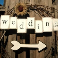 Wedding sign - carved letters in wood tiles w/wood heart arrow