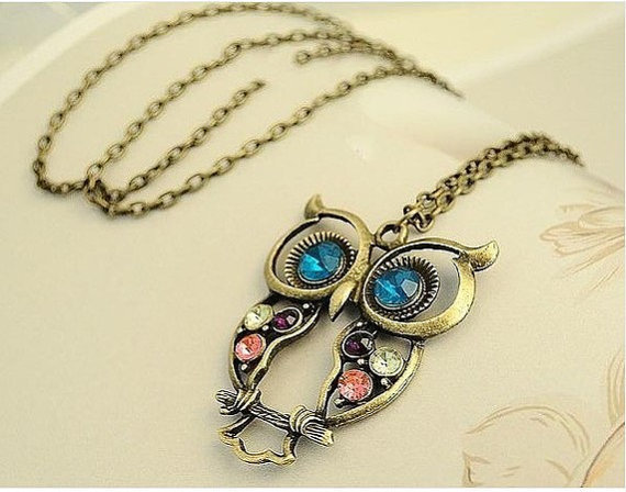 Vintage hollow colorful owl charm necklace by qizhouhuang on Etsy