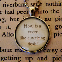 Alice In Wonderland Necklace. How Is A Raven Like A Writing Desk. 18 Inch Ball Chain.