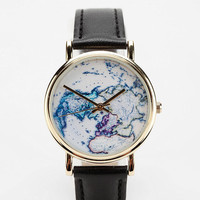 On The Map Leather Watch- Black One