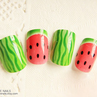 Ready to Ship Fake Nail Set   Watermelon  by bclovenails on Etsy